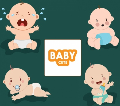 baby icons collection various cute gestures