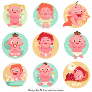 baby icons cute cartoon characters circles isolation