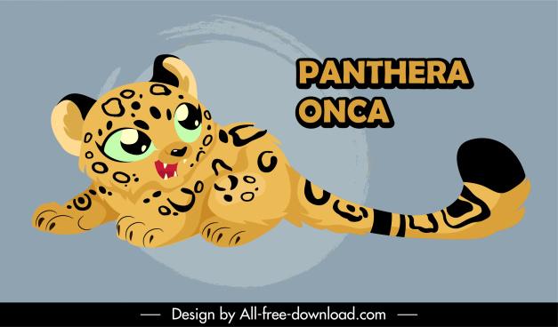 baby jaguar icon cute cartoon sketch