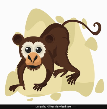 baby monkey icon cute cartoon design