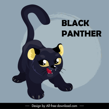 baby panther icon cartoon character sketch