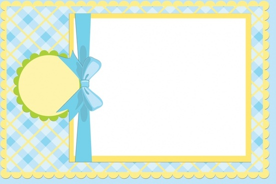 baby shower card template checkered ribbon paper cut