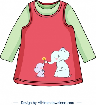 baby shirt template cute elephants icon decor