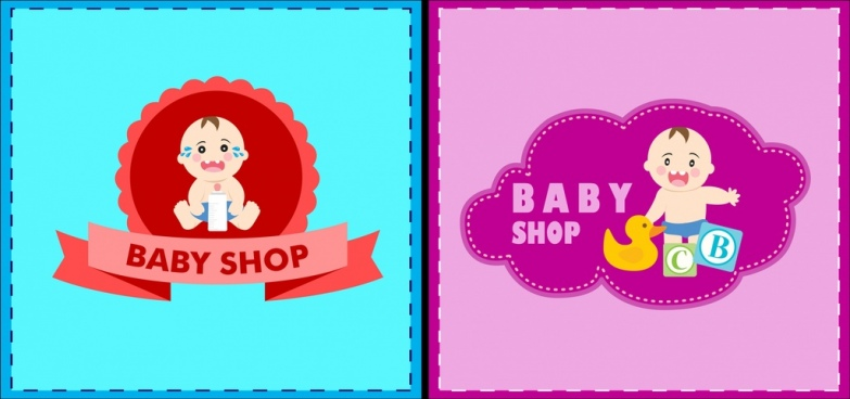 baby shop logotypes cute kid icon