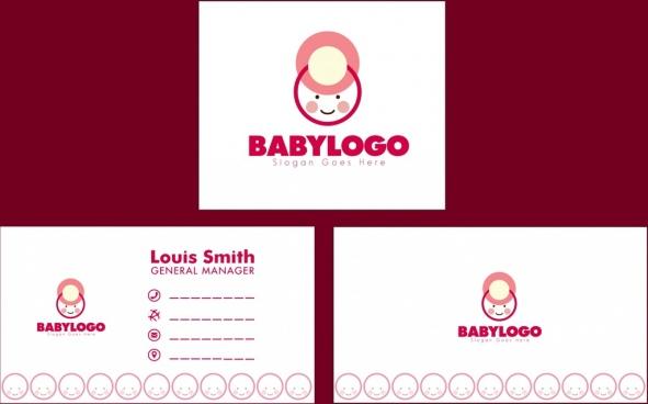 baby shop namecard template kid logo design