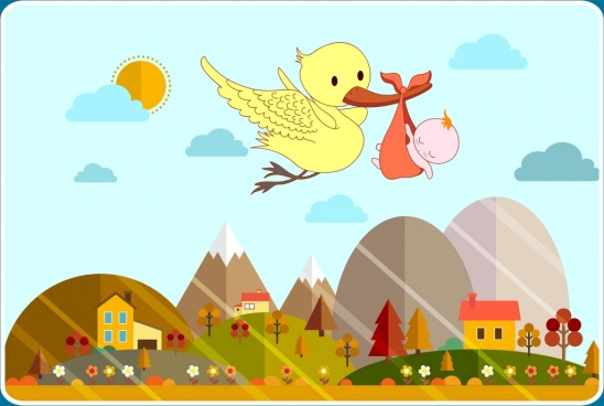 baby shower background carrying bird icon colored cartoon