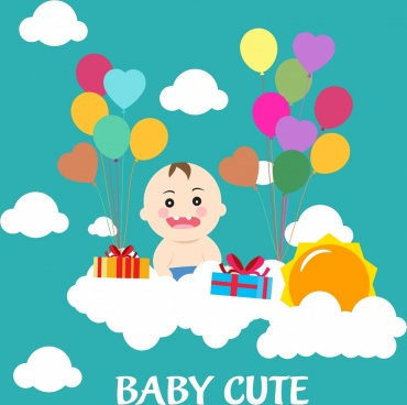 baby shower background colorful balloons kid icon decoration