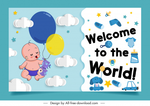 baby shower background cute kid dreaming elements decor