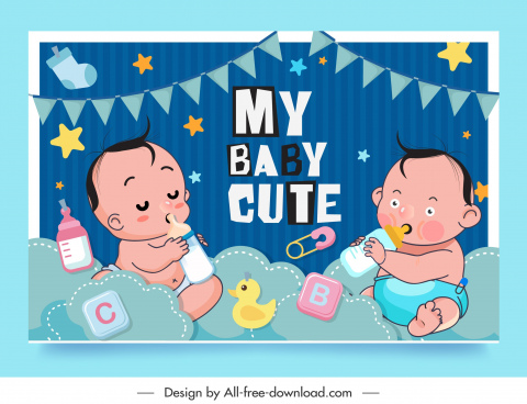 baby shower background cute kids sketch cartoon design