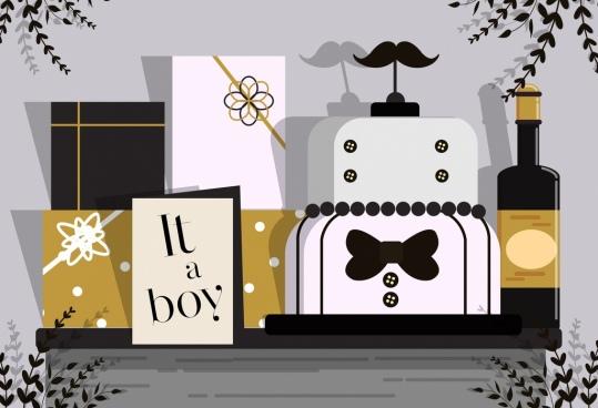 baby shower background gift cake wine icons decor