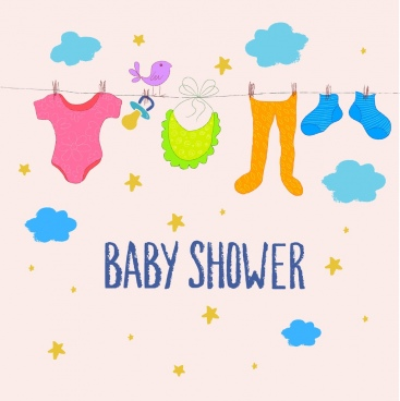 baby shower background hanging clothes colorful cartoon drawing