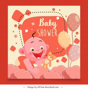 baby shower background joyful kid decor colorful flat