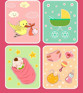 baby shower background sets colorful cute design elements