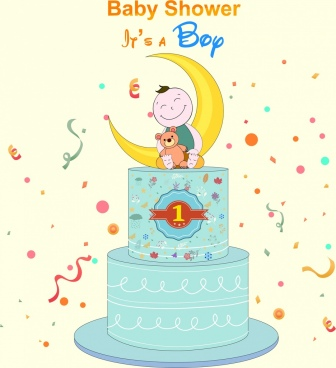 baby shower banner birthday cake boy icons decor