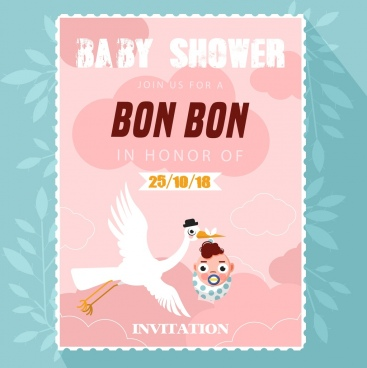 baby shower card background kid icon pink decor