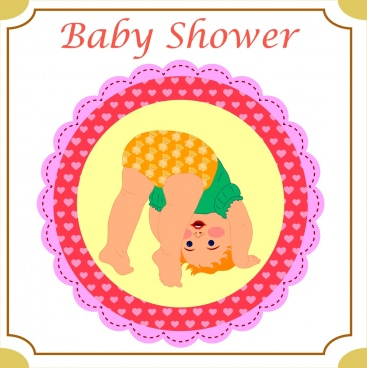 baby shower card cover background funny kid ornament