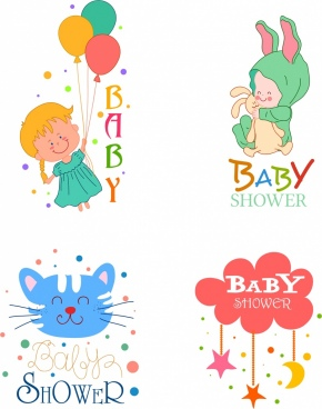 baby shower design elements cat kid star icons