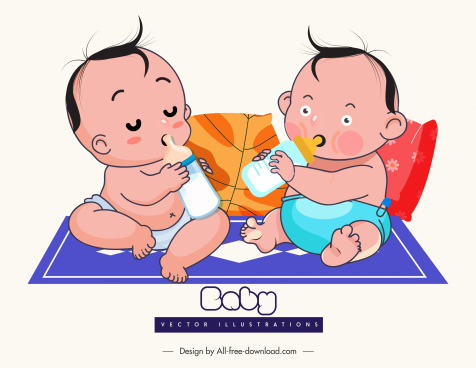 baby shower design elements cute cartoon characters sketch