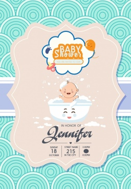 baby shower invitation banner cute kid icon decor