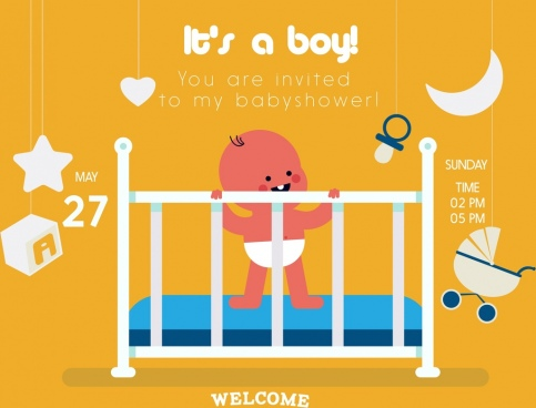 baby shower invitation card boy icon cartoon design