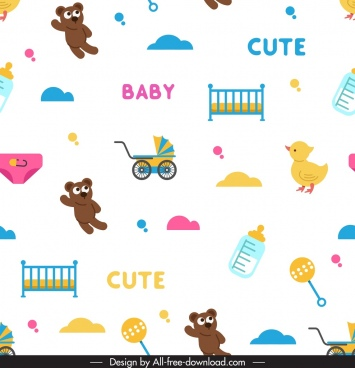 baby shower pattern teddy bear cradle trolley icons