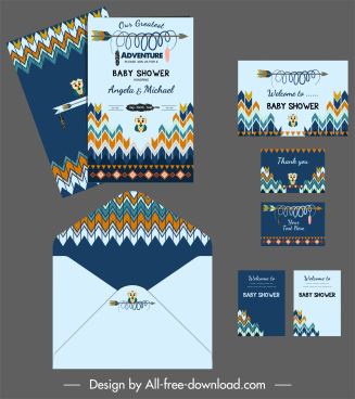 baby shower template colorful design kid arrow decor