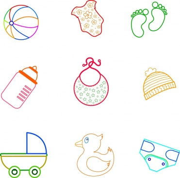 baby utensils collection flat colored outline