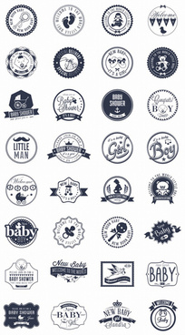 baby vintage badge with labels vector