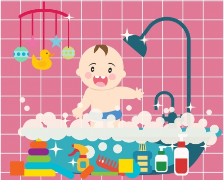 baby washing design elements cute cartoon design
