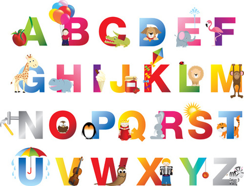 baby with animal alphabet vector