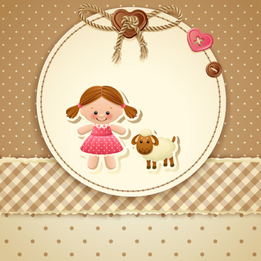 baby with sheep vector card