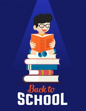 back to school background boy book stack icons