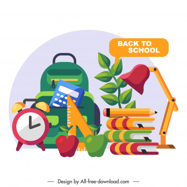 back to school background flat education tools sketch