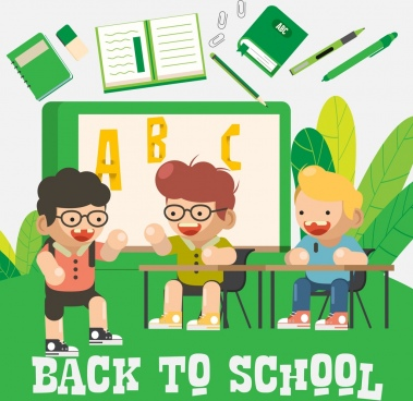 back to school background joyful boy education elements