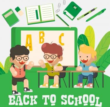 back to school background joyful boy education elements