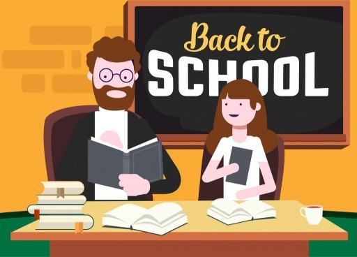 back to school background teacher student blackboard icons