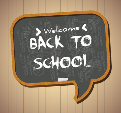 back to school background with text on chalkboard