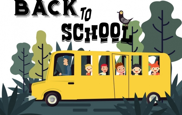 back to school banner bus pupils icons