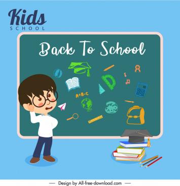 back to school banner chalkboard pupil educational elements