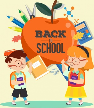 back to school banner children apple tools icons