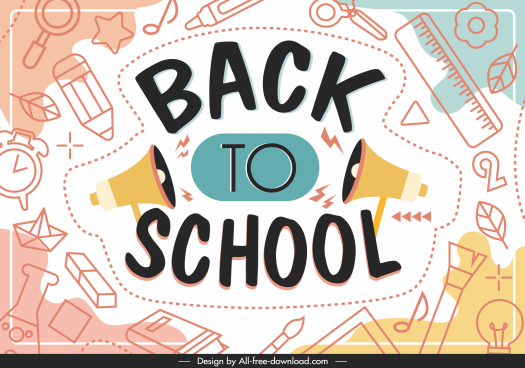back to school banner classical flat handdrawn tools