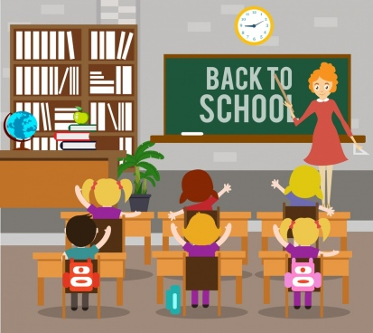 back to school banner classroom teacher pupils icons