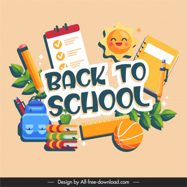 back to school banner colorful flat elements sketch