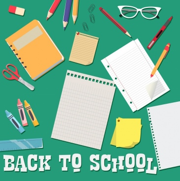 back to school banner education tools design elements
