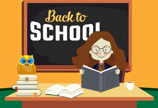 back to school banner female teacher blackboard icons