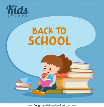 back to school banner girl books stack sketch