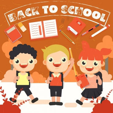 back to school banner happy children colored cartoon