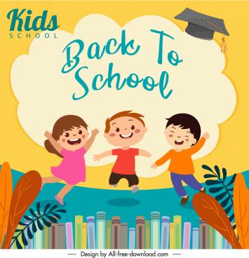 back to school banner joyful children sketch