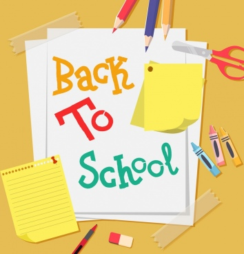 back to school banner paper pencil icons decor