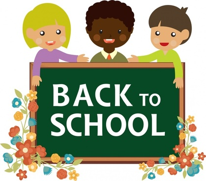 back to school banner pupils and blackboard design